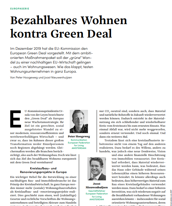 Article EFL in magazine DW die Wohnungwirtschaft